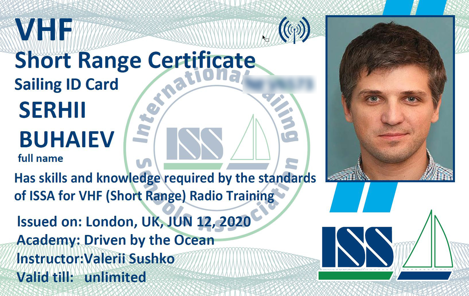 VHF Short Range Certificate Card